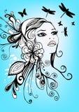 δημιουργικό floral κορίτσι Στοκ φωτογραφία με δικαίωμα ελεύθερης χρήσης