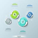 Δημιουργικό infographic πρότυπο σχεδίου με τα 4 στρογγυλή στοιχεία, εικονογράμματα, ένδειξη έτους και τα παράθυρα κειμένου απεικόνιση αποθεμάτων