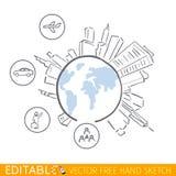 Δημογραφικός infographic Διανυσματικός γραφικός Editable στο γραμμικό ύφος Στοκ φωτογραφία με δικαίωμα ελεύθερης χρήσης
