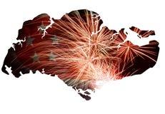 Δημοκρατία της σκιαγραφίας χαρτών πυροτεχνημάτων της Σιγκαπούρης απεικόνιση αποθεμάτων