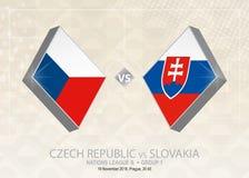 Δημοκρατία της Τσεχίας εναντίον της Σλοβακίας, ένωση Β, ομάδα 1 Ποδόσφαιρο γ της Ευρώπης Διανυσματική απεικόνιση