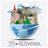Δημοκρατία του σφαιρικού ταξιδιού και του ταξιδιού Infograp ορόσημων της Σλοβενίας Στοκ Φωτογραφία