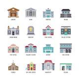Δημοτική βιβλιοθήκη κτηρίων πόλεων, τράπεζα, νοσοκομείο, διανυσματικό σύνολο εικονιδίων φυλακών διανυσματική απεικόνιση