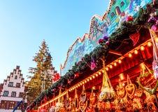 Δημοφιλές τουριστικό αξιοθέατο αγοράς Χριστουγέννων στη Φρανκφούρτη, Γερμανία Στοκ Εικόνα