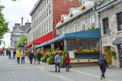 Δημοφιλής οδός Ζακ Cartier θέσεων στον παλαιό λιμένα Στοκ Εικόνες