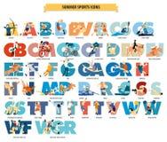 Δημοφιλή εικονίδια θερινού αθλητισμού Στοκ Εικόνες