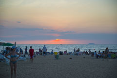 13 11 2014 - Δημόσια παραλία και η παραθεριστική πόλη Pattaya, Thaila Στοκ Φωτογραφίες