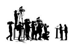Δημόσιος ομιλητής που στέκεται στη διανυσματική σκιαγραφία εξεδρών Γυναίκα πολιτικών στο γεγονός τελετής συνεδρίασης Ομιλία επιχε ελεύθερη απεικόνιση δικαιώματος