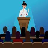 Δημόσιος ομιλητής επιχειρησιακών γυναικών στη διάσκεψη Στοκ φωτογραφία με δικαίωμα ελεύθερης χρήσης