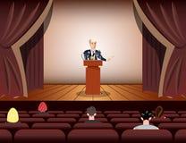 Δημόσιος ομιλητής που μιλά στα μικρόφωνα στη σκηνή διανυσματική απεικόνιση