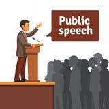 Δημόσιος ομιλητής που μιλά στο μαζευμένο κοινό διανυσματική απεικόνιση