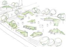 Δημόσιο αρχιτεκτονικό σκίτσο πάρκων διανυσματική απεικόνιση