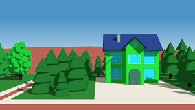 Διάβαση από λίγα cartoony σπίτια διανυσματική απεικόνιση