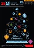 Διάβαση με μορφή του χριστουγεννιάτικου δέντρου Φωτεινά εικονίδια διοικητικών μεριμνών Χριστουγέννων νέου στο μαύρο υπόβαθρο τεχν ελεύθερη απεικόνιση δικαιώματος