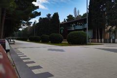 διάβαση πεζών κήπων Πλάγια όψη του δρόμου ασφάλτου, οδός στην προαστιακή κατοικήσιμη περιοχή με το μέρος των πράσινων δέντρων στοκ εικόνα με δικαίωμα ελεύθερης χρήσης