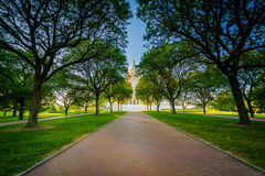 Διάβαση πεζών και δέντρα μπροστά από το Ρόουντ Άιλαντ Βουλή, στο Π στοκ φωτογραφία με δικαίωμα ελεύθερης χρήσης