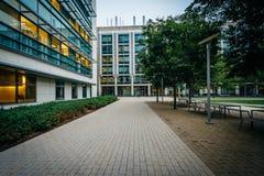Διάβαση πεζών και σύγχρονα κτήρια, στο ίδρυμα της Μασαχουσέτης Στοκ Φωτογραφίες