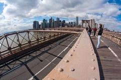 διάβαση πεζών του Μπρούκλιν γεφυρών Στοκ Εικόνες