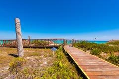 Διάβαση στον αμμώδη παράδεισο Playa παραλιών του νησιού Cayo βραδύτατου, Κούβα Διάστημα αντιγράφων για το κείμενο Στοκ Εικόνες