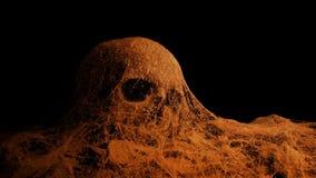 Διάβαση του παλαιού κρανίου κάτω από τους ιστούς αράχνης Firelight απόθεμα βίντεο