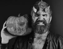 Διάβολος ή τέρας με τις διακοσμήσεις Οκτωβρίου Ο δαίμονας με τα κέρατα και το κακό πρόσωπο κρατά το χαρασμένο φανάρι γρύλων ο Συμ Στοκ εικόνα με δικαίωμα ελεύθερης χρήσης