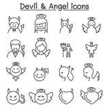 Διάβολος & εικονίδιο αγγέλου που τίθεται στο λεπτό ύφος γραμμών Διανυσματική απεικόνιση