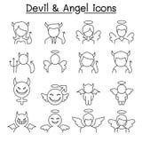 Διάβολος & εικονίδιο αγγέλου που τίθεται στο λεπτό ύφος γραμμών Απεικόνιση αποθεμάτων