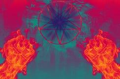 Διάβολος με το pentagram διανυσματική απεικόνιση