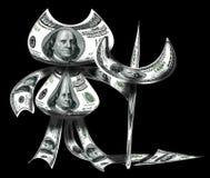 Διάβολος που γίνεται από τα δολάρια Στοκ Εικόνες