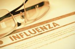 Διάγνωση - γρίπη η έννοια βρίσκεται καθορισμένο στηθοσκόπιο χρημάτων ιατρικής τρισδιάστατη απεικόνιση Στοκ εικόνες με δικαίωμα ελεύθερης χρήσης