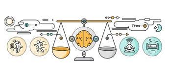 Διάγνωση του επίπεδου σχεδίου ψυχολογίας εγκεφάλου διανυσματική απεικόνιση