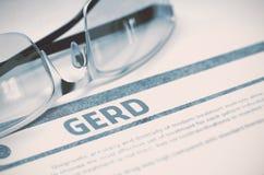 Διάγνωση - GERD η έννοια βρίσκεται καθορισμένο στηθοσκόπιο χρημάτων ιατρικής τρισδιάστατη απεικόνιση Στοκ εικόνα με δικαίωμα ελεύθερης χρήσης