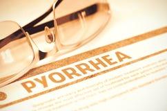 Διάγνωση - Pyorrhea η έννοια βρίσκεται καθορισμένο στηθοσκόπιο χρημάτων ιατρικής τρισδιάστατη απεικόνιση Στοκ Φωτογραφίες