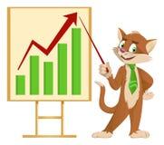 Διάγραμμα ανάπτυξης Αστεία γάτα κινούμενων σχεδίων σε έναν δεσμό που παρουσιάζει Στοκ φωτογραφίες με δικαίωμα ελεύθερης χρήσης