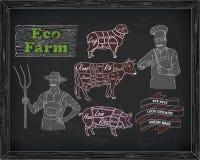 Διάγραμμα βόειου κρέατος σφαγής, χοιρινό κρέας, αρνί και αγρότης, μάγειρας Στοκ Φωτογραφίες