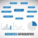 Διάγραμμα, γραφική παράσταση, πληροφορία-γραφικό πρότυπο στο μπλε θέμα Στοκ Εικόνες
