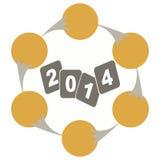 Διάγραμμα εξέλιξης έτους 2014 διανυσματική απεικόνιση