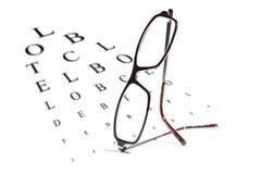 Διάγραμμα και γυαλιά δοκιμής οράματος Στοκ φωτογραφίες με δικαίωμα ελεύθερης χρήσης