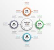 Διάγραμμα κύκλων Infographic Διανυσματικό έμβλημα με 4 βήματα, μέρη, επιλογές Πρότυπο για το επιχειρησιακό infographics Στοκ φωτογραφίες με δικαίωμα ελεύθερης χρήσης