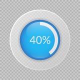 διάγραμμα πιτών 40 τοις εκατό στο διαφανές υπόβαθρο Διανυσματικό infographic εικονίδιο ποσοστού Στοκ Εικόνες
