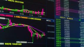 Διάγραμμα τιμών cryptocurrency Bitcoin που ανεβαίνει και κάτω στην ψηφιακή ανταλλαγή αγοράς απόθεμα βίντεο