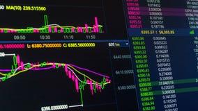 Διάγραμμα τιμών cryptocurrency Bitcoin που ανεβαίνει και κάτω στην ψηφιακή ανταλλαγή αγοράς φιλμ μικρού μήκους
