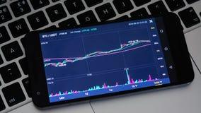 Διάγραμμα τιμών cryptocurrency Bitcoin στην ψηφιακή ανταλλαγή στην κινητή τηλεφωνική οθόνη στο πληκτρολόγιο lap-top, επιχειρησιακ απόθεμα βίντεο