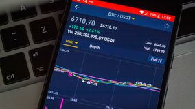 Διάγραμμα τιμών cryptocurrency Bitcoin στην ψηφιακή ανταλλαγή στην κινητή τηλεφωνική οθόνη στο πληκτρολόγιο lap-top, επιχειρησιακ φιλμ μικρού μήκους