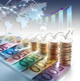 Διάγραμμα του ευρο- νομίσματος - έννοια της αύξησης στοκ φωτογραφίες