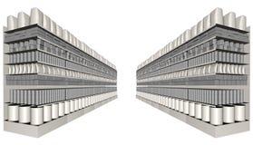 Διάδρομος αγορών υπεραγορών με τα γενικά προϊόντα απεικόνιση αποθεμάτων