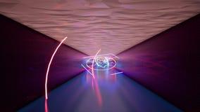 Διάδρομος με τους φωτεινούς λαμπτήρες υπεριώδους φωτός διανυσματική απεικόνιση
