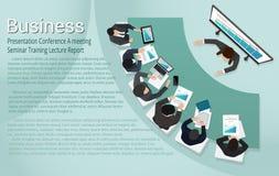 Διάλεξη κύκλου μαθημάτων κατάρτισης συνεδρίασης των εκθέσεων επιχειρησιακών διασκέψεων παρουσίασης διανυσματική απεικόνιση