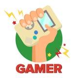 Διάνυσμα έννοιας Gamer Ψηφιακό σχέδιο παιχνιδιών Φορητή κονσόλα, σύμβολο ελεγκτών, Gamepad Παλαιά συσκευή Game Boy απομονωμένος ελεύθερη απεικόνιση δικαιώματος