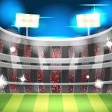 Διάνυσμα αθλητικού υποβάθρου σταδίων νύχτας ποδοσφαίρου Στοκ Εικόνες